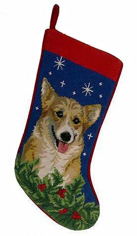 Corgi Christmas Stocking 100% Wool Hand-Stiched Needlpoint: (Wool Pet Stocking)