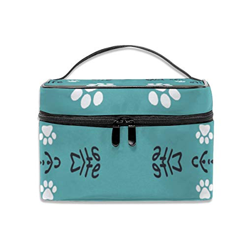 Dkhh Chugs Life Teal Background Fabric (3768) Travel Makeup Bag Cosmetic Cases Organizer Portable Storage Bag for Cosmetics Makeup Brushes Toiletry Travel - Train Chug Little