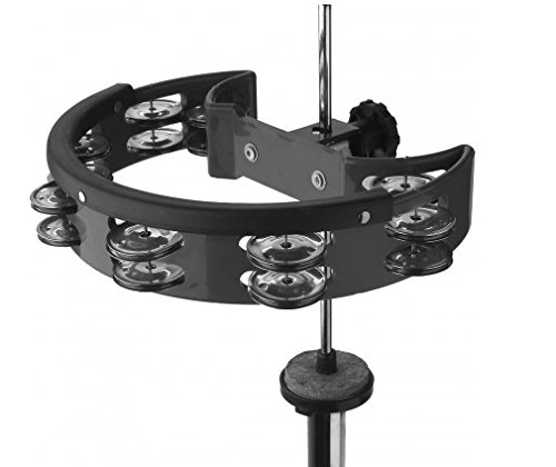 Stagg TAB-D BK Half Moon Plastic Base Hi-Hat Tambourine with 16 Jingles - Black by Stagg