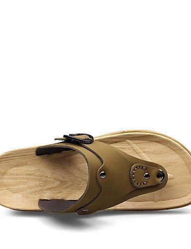 NTX/ Men's Shoes Outdoor / Casual Leather / Fabric Flip-Flops Yellow / Khaki yellow-us7.5 / eu39 / uk6.5 / cn40 Pas7NnYO