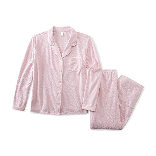 Womens Pink K Light pink Leopard Print Embossed Fleece Pajama (X-Large)