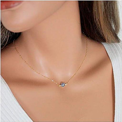 MINGHUA Blue Evil Eye Necklace Small Evil Eye Pendant Gold Delicate Chain