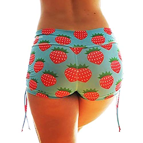 JOFOW Shorts Womens Fruit Print Side Pleated Cute Skinny Trousers Stretch Fitness Mid Waist Casual Gift Summer Mini Pants (XL,Blue -Strawberry)