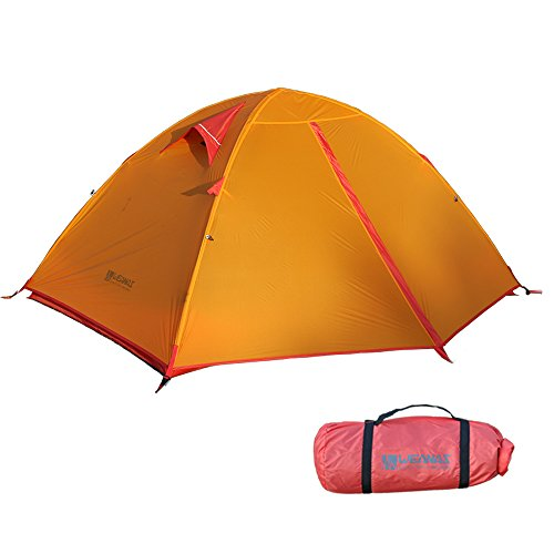 Weanas Backpacking Tent 2 Person Camping Tent 3 Season Ultralight Silicone Coating Double Layer Weatherproof Waterproof Aluminum Rod Anti-UV for Outdoor Hiking Travel Hunting Beach by (Orange)