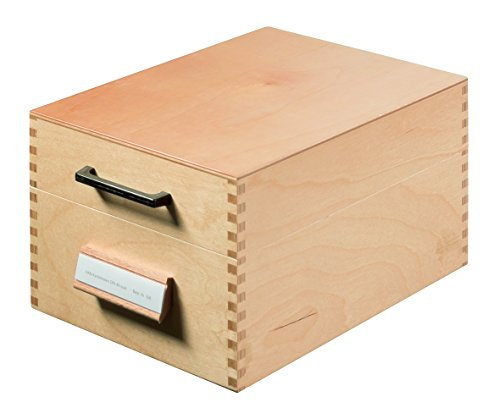 HAN 506; Holz-Karteikasten DIN A6 quer; für 900 Karten; Metallboden/Stütze; Naturholz