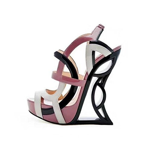 Dovaly Women Sandals Gladiator Peep Toe Wedge Strange Heel Mix Color Cutout Cut-Out High Heels