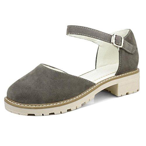 TAOFFEN Mujer Moda Punta Redonda Colegio Vestido Zapatos Hebilla Correa Sandalias Gris