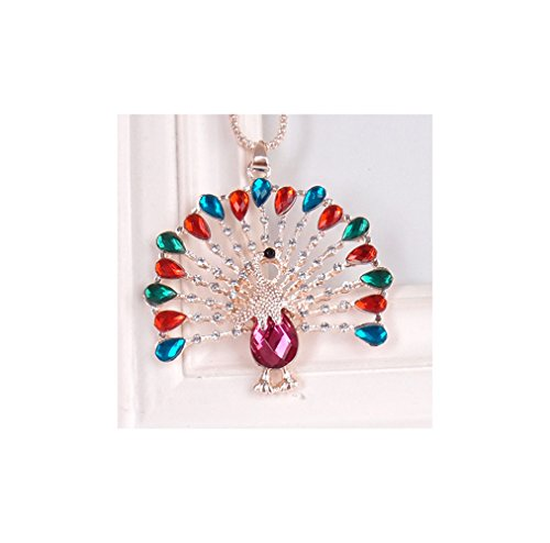 Gorgeous Jewelry Proud as a Peacock Color Diamond Accented Crystal Pendant Sweater Chain Female - Miami Optical Beach