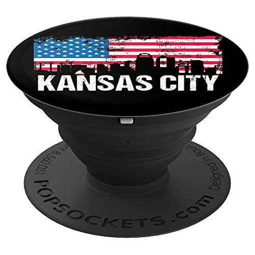 Vintage US Flag American City Skyline Kansas City PopSockets Grip and Stand for Phones and Tablets