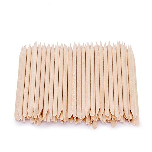 Artlalic 100pcs Nail Art Orange Bâtons de bois repousse cuticule Remover Manucure Pédicure Outil
