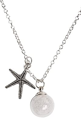 Starfish Sand Necklace and Made a Difference to that One Starfish Story Card. Hand blown Glass bulb with sand and detailed starfish charm necklace. Thank You to those who Make a Difference! 18""