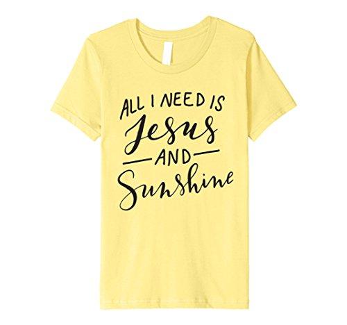 Kids All I Need is Jesus and Sunshine T-Shirt Funny Mom Mama Gift 8 Lemon (T-shirt Sunshine Yellow)