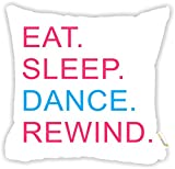 "Rikki Knight Eat Sleep Dance Rewind Pink & Blue Design 18"" Square Microfiber Throw Decorative Pillow with Double Sided Print (Insert Included)"