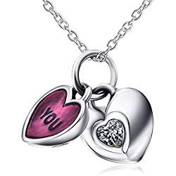 925 Sterling Silver Double Hearts Pendant Necklace The Complete Love of You and Me Necklace For Women