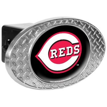 MLB Cincinnati Reds Metal Diamond Plate Trailer Hitch Cover