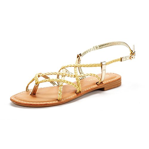 DREAM PAIRS Women's Gold Thong Design Strappy Flat Sandals Size 6.5 M US Crox_02 02 Women Flat Sandals