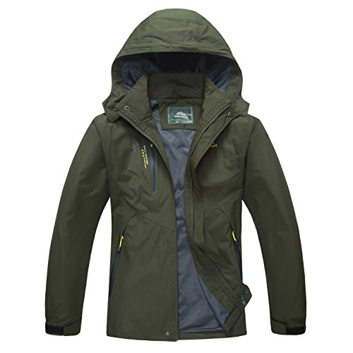 Windbreaker Mens Jacket Waterproof Camping Jacket Hiking Jacket Raincoat for Men 3 Season Jacket Spring Jacket Men Army Green