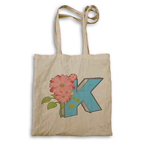 Buchstabe K Vintage Blume Tragetasche p427r