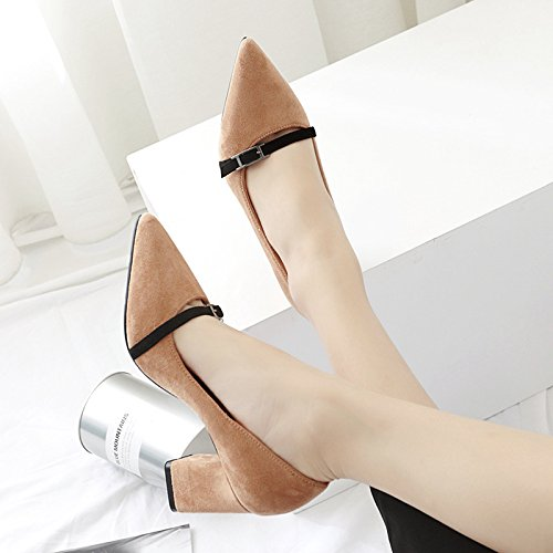 tacón word de color de los de singles hechizo la boquilla zapatos de zapatos par alto zapatos la Matt femeninos singles luz un A bold light punta caqui 37 la de femeninos con de los E7HtwWq8p8