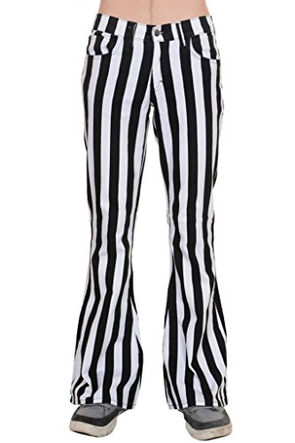 Run & Fly Mens 60's 70's Retro Vintage Black White Striped Stretch Bellbottom Super Flares 38R