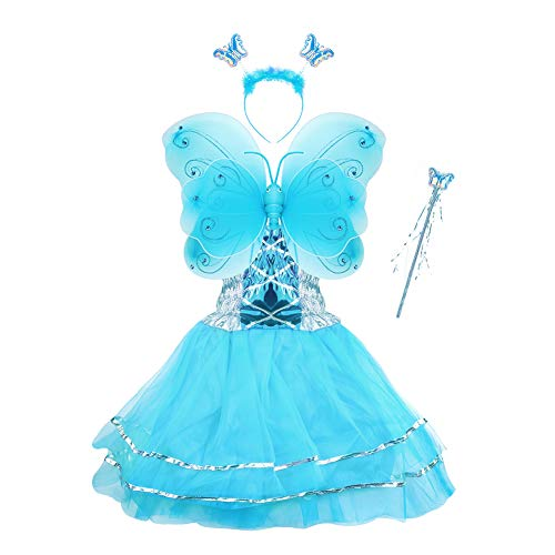 Girls Dress Up Princess Fairy Costume Set with Dress, Wings, Wand and Headband for Children Ages 3-10 ()