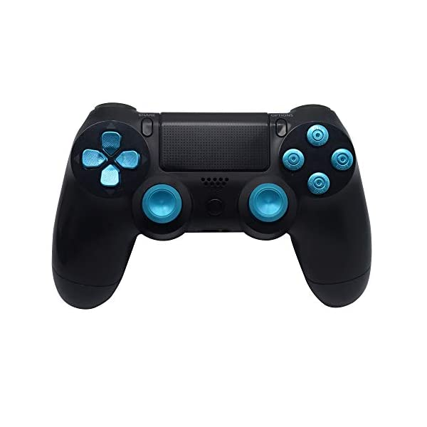 TOMSIN Metal Buttons for DualShock 4, Aluminum Metal Thumbsticks Analog Grip & Bullet Buttons & D-pad for PS4 Controller (Blue) 2