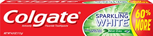 Colgate Sparkling White Whitening Toothpaste, Mint - 4 ounce (6 Pack) (Toothpaste Mint White)