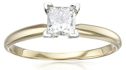 14k Yellow Gold Princess Solitaire Diamond Engagement Rin...