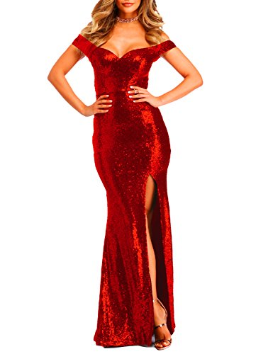 YSMei Women's Long Off The Shoulder Sequined Prom Party Dress with Split Mermaid Formal Bright Red 14 -