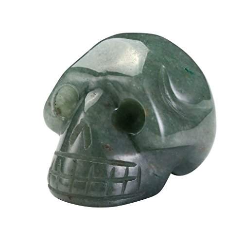 QGEM 1PC Green Aventurine Carved Skull Head Statue 1.5\