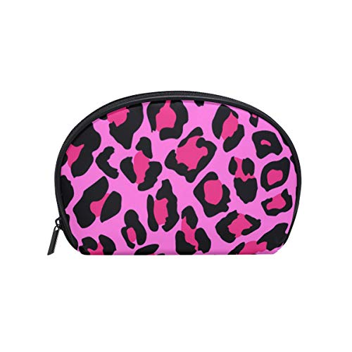 - Leopard Pink Wild Jaguar Womens Half Moon Cosmetic Bag Makeup Pouch Shell Toiletry Kits