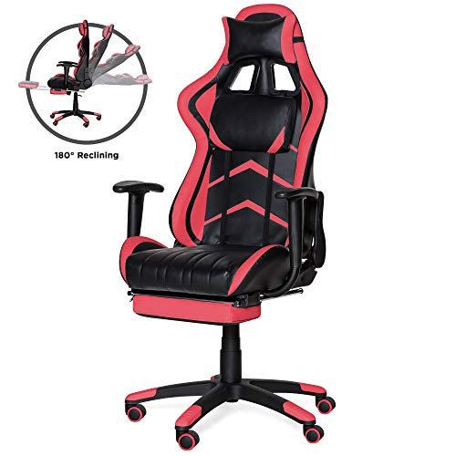 Best Choice Products Ergonomic High Back Executive Office Computer Racing Gaming Chair w/ 360-Degree Swivel, 180-Degree Reclining, Footrest, Adjustable Armrests, Headrest, Lumbar Support, Pink