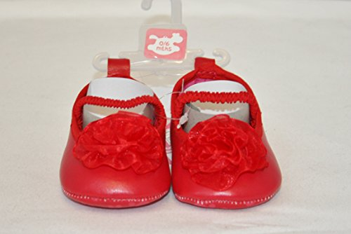 Para bebés de deslizamiento de entrenamiento para niña para zapatos con diseño de flores de rosa Talla:6-12 meses rosso