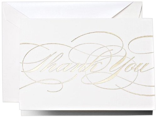 Crane & Co. Gold Flourish Thank You Notes (CT1330), Pack of 10