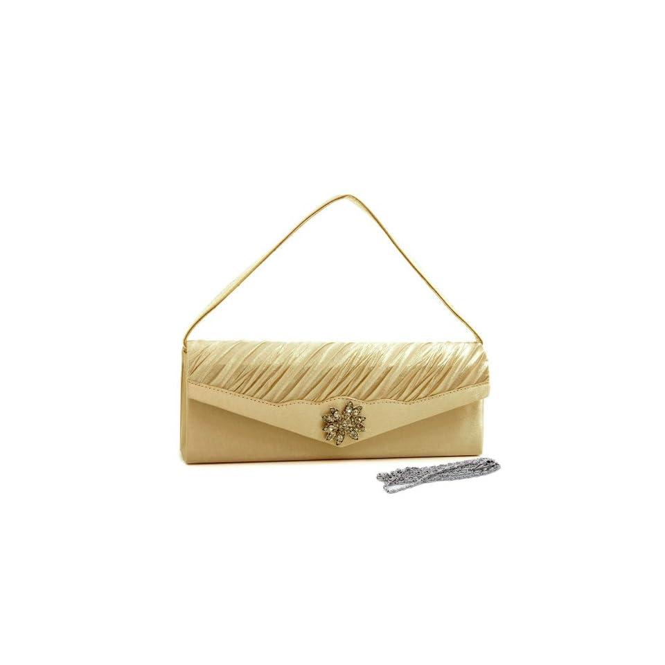 Pleated Evening Bag Clutch W/ Rhinestone Flower Brooch Champagne Satin Evening Handbags Shoes