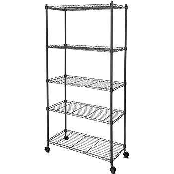 Superior Homdox 5 Shelf Shelving Unit On Wheels Wire Shelves,shelving Unit Or Garage  Shelving