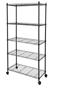homdox 5 shelf shelving unit on wheels wire shelves shelving unit or garage shelving. Black Bedroom Furniture Sets. Home Design Ideas