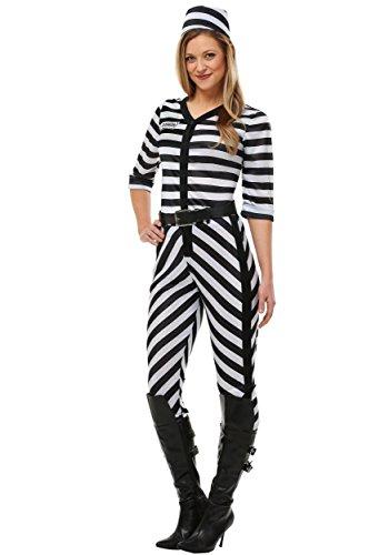 Women's Jailbird Beauty Costume Medium Black,White]()