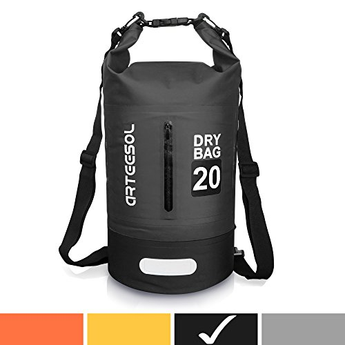 Arteesol Waterproof Bag 5L/10L/20L/30L Dry Bag Rucksack with Double Shoulder Strap Backpack for Swimming Kayaking Boating Fishing Traveling Cycling Beach [4 Colors] (Black, 20L) by Arteesol