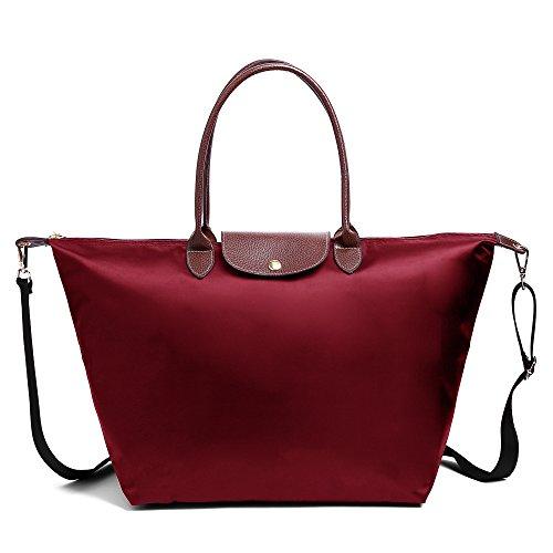 BEKILOLE Women Fashion Waterproof Tote Bag Nylon Shoulder Beach Bag with Shoulder Strap- Burgundy Color - Large - Age Sunglasses Space