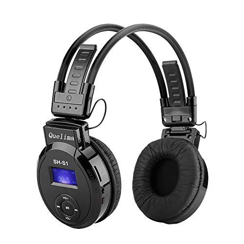 (Wireless Headset Headphone, Foldable Black Comfortable Soft Over Ear LED Support TF Card Sport earphone (Black))