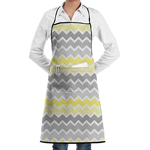 TLDRZD Aprons Kitchen Chef Bib - Famgem Dinner is Coming Professional for BBQ/Baking/Cooking for Men Women Yellow Grey Gray -