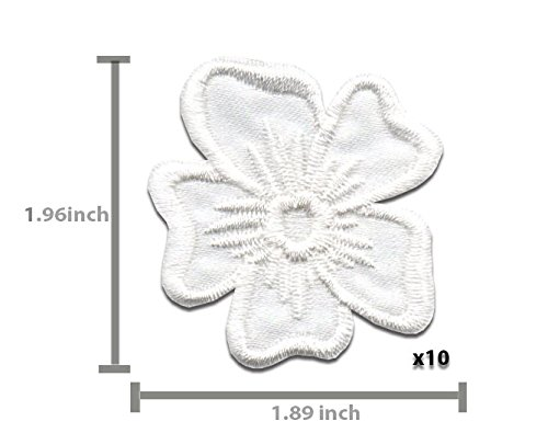 White Flower Patch 10 pcs Iron On Patch Embroidered Applique 1.89 x 1.96 inches Iron On Patches A-154 4.7 x 5.0 cm