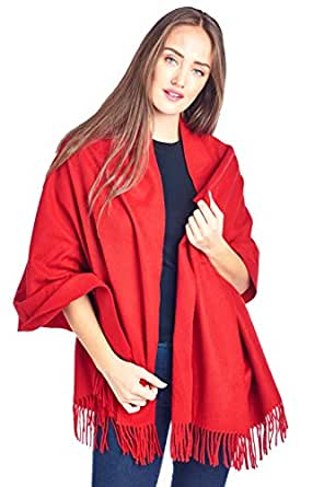 High Style 100% Lambswool Women Solid Oversized Large Scarf Shawl (S0915477,19-1757,BarbadosCherry)