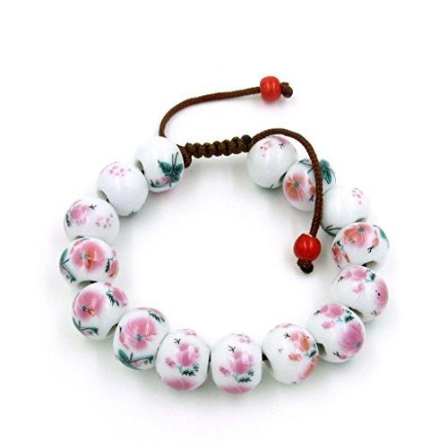 OVALBUY Hand Crafted Porcelain Flower Beads Bracelet