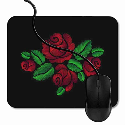 Gaming Mouse Pad Black Red Roses Crewel Thread Yarn Fiber Filament Flower Premium-Textured Mouse Mat, Non-Slip Rubber Base Mousepad for Computer 2D2174 (Crewel Flowers)