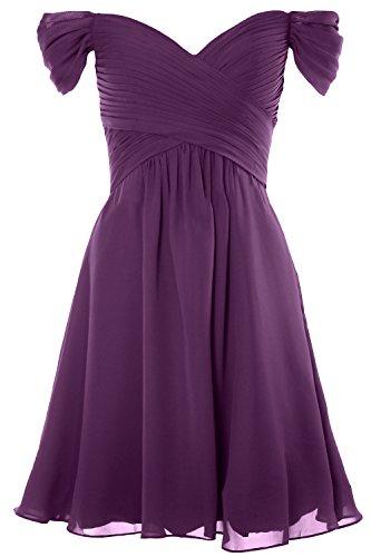 Women Off Party Shoulder Formal Gown Short Bridesmaid Wedding Dress Eggplant Macloth fnZ6xqw1d6