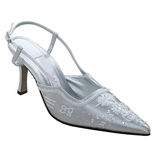 Fatto Mz586 Minitoo Tacco In Da 5cm Con Scarpe 6 Argento Sposa Formale Di Donna Mano Pompe Sera Raso Paillettes A AdttqW
