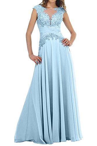 Damen Blau mit Lawender Abendkleider Kurzarm Langes Ballkleider Partykleider Charmant Spitze Himmel Brautmutterkleider SdwFSP