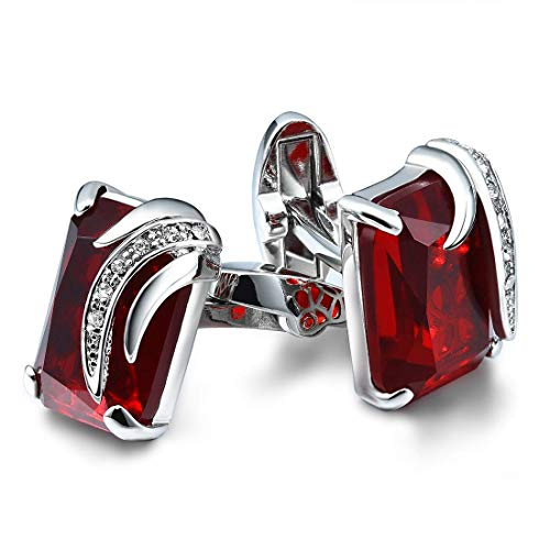 (CAT EYE JEWELS Men's Cufflinks Red Cubic Zirconia for Luxurious Tuxedo Formal Shirts Kit)